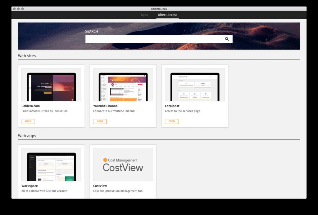 CalderaDock - Page accès direct