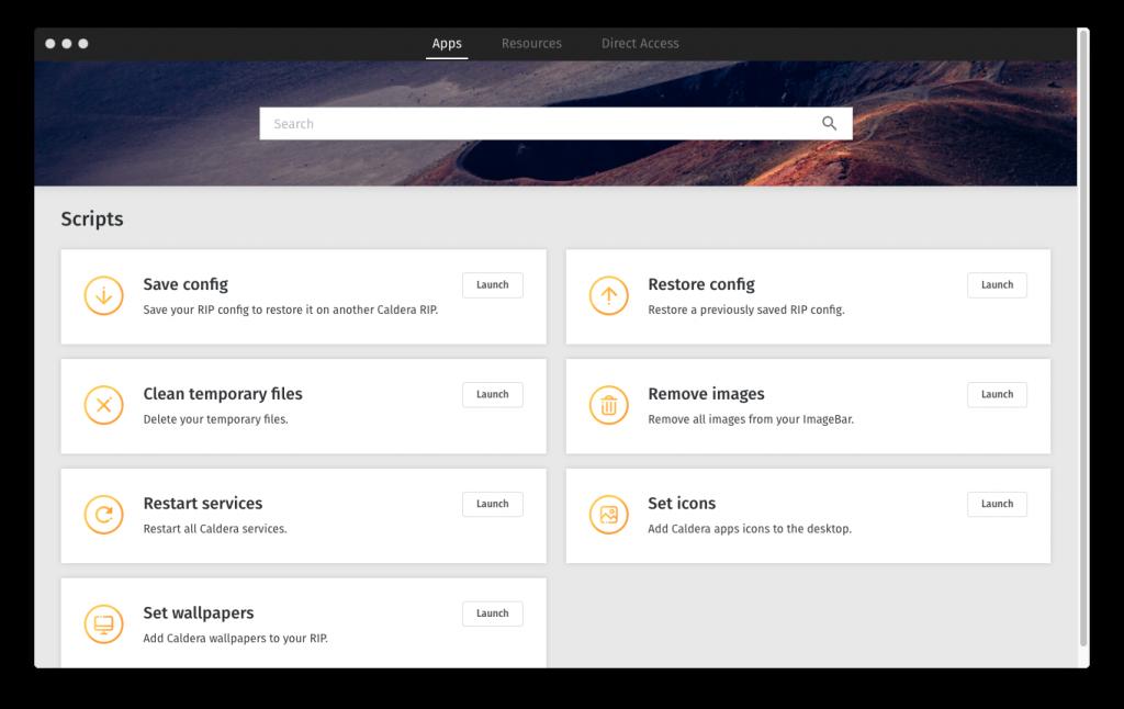CalderaDock Interface Applications Tab