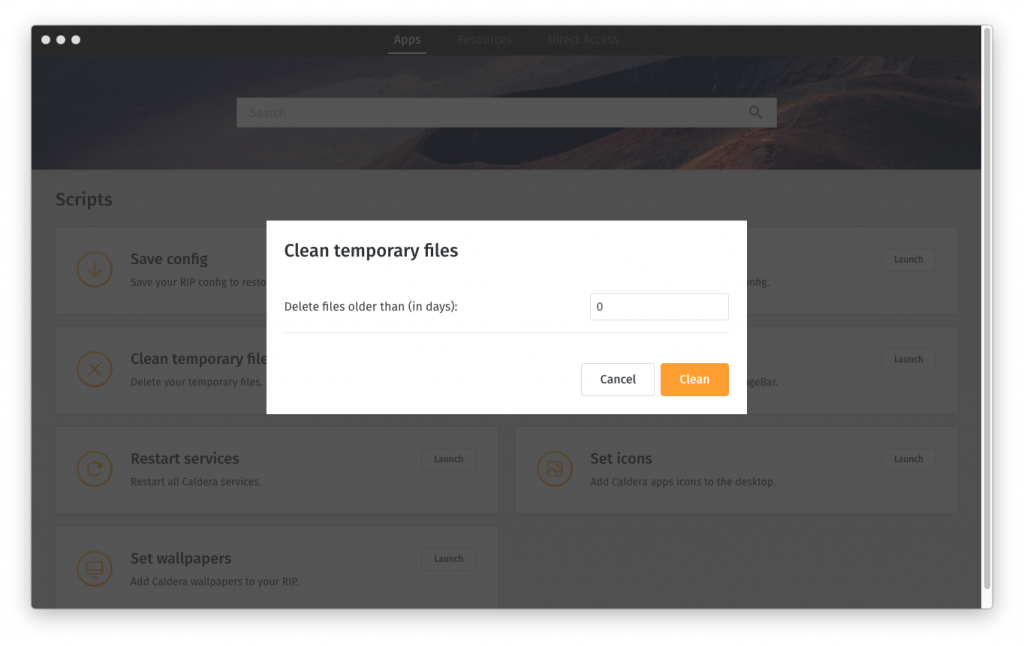 CalderaDock cleaning option interface