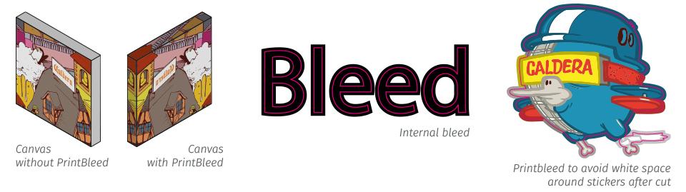 Print bleed tools in CalderaRIP software