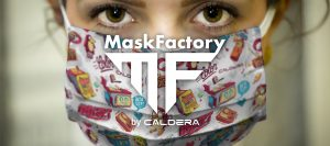 Caldera MaskFactory Banner woman wearing a face mask